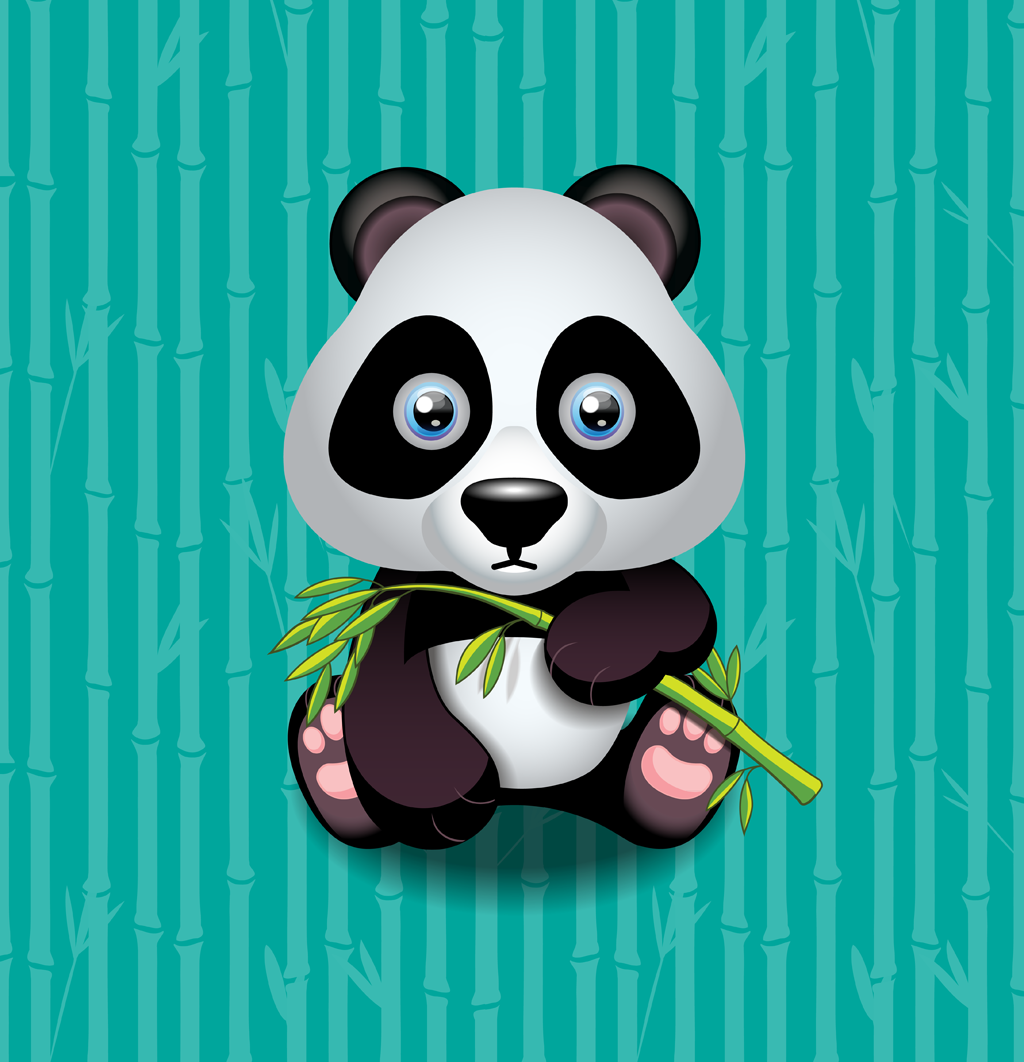 Adorable panda cub munching on a bamboo twig.