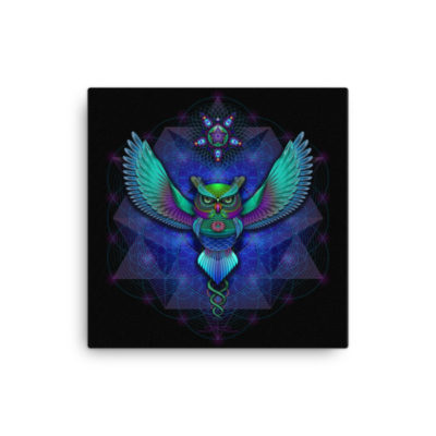Sacred Geometry Owl – 16 x 16 Stretched Canvas