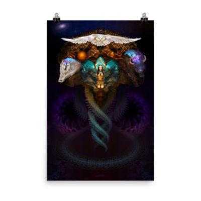 Calling The Spirit Animals – 24 x 36 Museum-Quality, Thick, Matte Paper Poster.