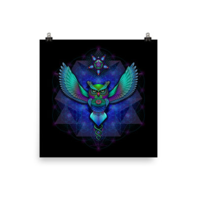 Sacred Geometry Owl – 14 x 14 Museum-Quality, Thick, Matte Paper Poster.