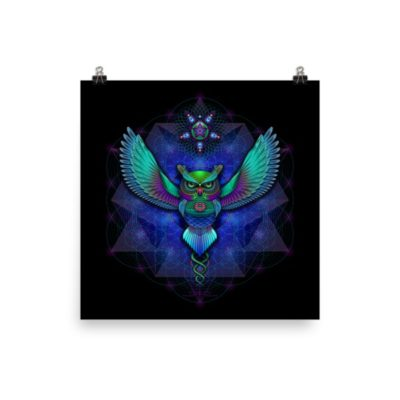 Sacred Geometry Owl – 12 x 12 Museum-Quality, Thick, Matte Paper Poster.