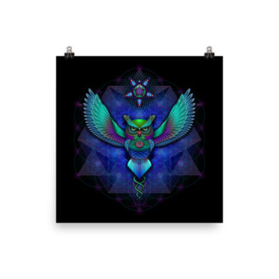 Sacred Geometry Owl – 18 x 18 Museum-Quality, Thick, Matte Paper Poster.